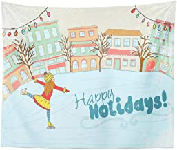 Kayel Polyester Fabric Tapestry Girl Ice Skating Winter City Art Building Child Christmas Wall Hanging Tapestry,Daily Decorative Tapestry for Bedroom Living Room Dorm 60L x 80W inches