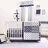 Nautical Whales and Anchors Navy 4 Piece Crib Bedding Set by The Peanut Shell
