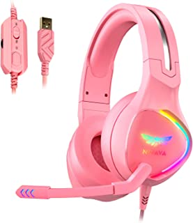 Nivava K12 USB Gaming Headset for PC, PS5, 7.1 Surround Sound PS4 Headset with Noise Cancelling Microphone, Over-Ear Headphone with Soft Memory Earpads RGB LED Lights for Computer Laptop Mac(Pink)