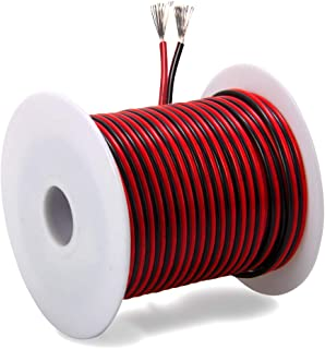 40ft 18 AWG Gauge Electrical Wire, Premium DC 12V Hookup Red Black Copper Stranded Auto 2 Cord, Flexible Extension Cable with Spool for LED Ribbon Lamp Light or Low Voltage Products by MILAPEAK