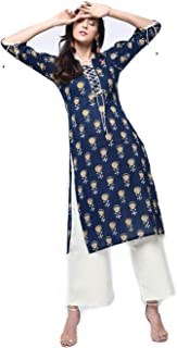 Zoeyams Womens Multicolored Cotton Printed Long Straight Kurta With Cotton Palazzo