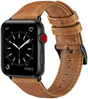 OUHENG Compatible with Apple Watch Band 42mm 44mm, Genuine Leather Band Replacement Compatible with Apple Watch Series 5 4 3 2 1 42mm 44mm Sport and Edition, Retro Brown