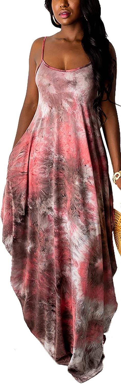 Women's Maxi Sunflower Dresses Sleeveless 超人気 専門店 Long Tie Cas 激安価格と即納で通信販売 Dye Dress