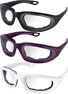 3 Pieces Onion Goggles Glasses No-Tears Kitchen Onion Glasses with Inside Sponge for Onion Tearless BBQ Grilling Dust-proof for Women Men Cleaning Kitchen (White, Black, Purple)