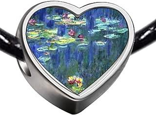 Silver Plated Monet Water Lilies Photo Heart Charm Beads Bracelets European Bracelets