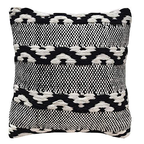 LaLe Living Kissenhülle YASTIK in Gemustert Weiß & Schwarz aus Baumwolle, Kissenbezug in 45 x 45 cm