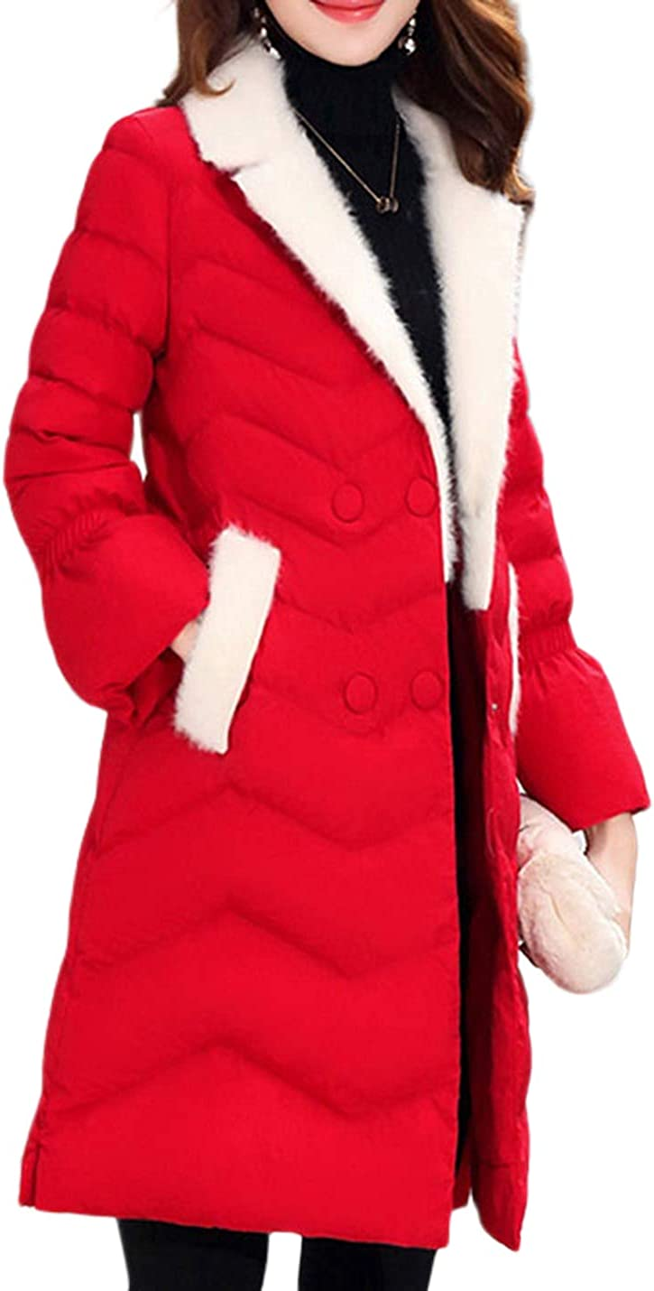 Uaneo Women's Mid Long Slim Fur Lapel Collar Quilted Puffey Jacket Winter Coat(Red-XS)