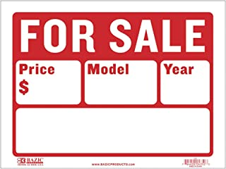 "BAZIC 9"" X 12"" For Sale Sign for Car and Auto Sales (2-Line) (S-2)"