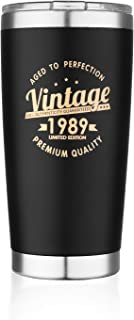 Vintage 1989 30th Birthday Gifts for Men Women Insulated Stainless Steel Tumbler | 30 Year Old Presents 20 oz Black | Best Gift for Mom Dad Wife Husband | 30th Party Decorations Supplies