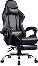 LUCKRACER Gaming Chair Massage with footrest Office Chair with Massage Lumbar Support Swivel Chair with Racing Style Armrest PU Leather High Back (Black)