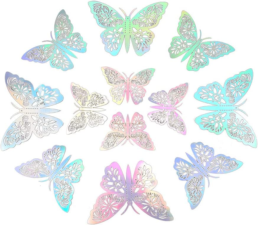 SiTey 12 Pcs 3D Hollow Butterflies Wall Stickers Mirror Decorotion Removable Decal Art DIY Flying Decor for Room Home Kids Bedroom Nursery Decor-Golden