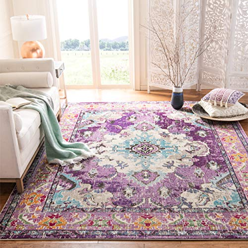 Safavieh Monaco Collection MNC243L Bohemian Chic Medallion Distressed Area Rug, 8' x 10', Violet/Light Blue