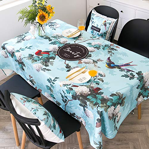 WSJIABIN Home Decoration Flowers Parrot Tablecloth Waterproof and Oil-Proof Disposable Washable Anti-Scald Tablecloth Rectangular Tablecloth