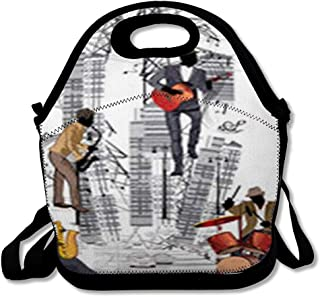 Lunch Bags for Women Men Insulated Rock Abstract Musical City Traffic Musicians Microphone Acoustic Artist Band Bass Bistro Cafe Lunch Tote School for Child