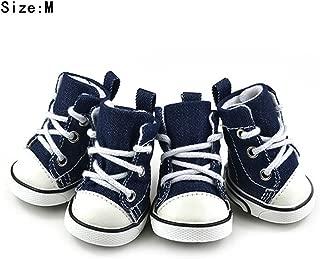 Totoo 4 Pcs Anti Slip Cavas Pet Dog Cat Shoes Paw Protectors Breathable Dog Cat Boots Protective Rain Boots, Blue