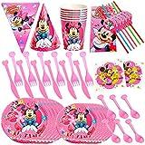 JPYH Set de Fiesta de cumpleaños de Mickey 60PCS Disney Mickey Mouse Party Decoration Set Platos Tazas Servilletas Pack de Fiesta reciclable Mickey Mantel Sirve para 6 Invitados