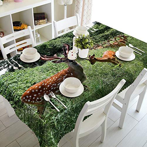 RFGED Sika Deer On Green Grass Meadow Wipe Clean Mantel 3D Vinilo Hule Mantel Rectangular Manteles Impermeables Hogar Jardín Duradero