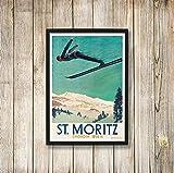 Retro Travel Poster Schweiz Skiboot Leinwand Malerei