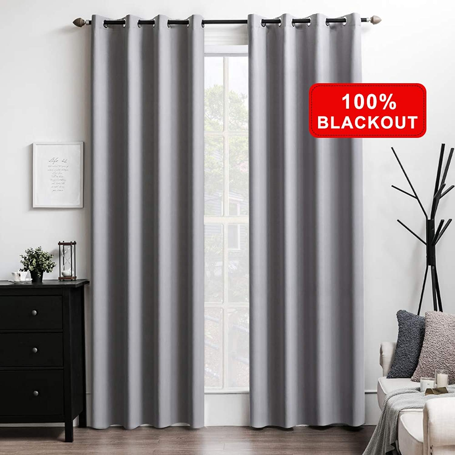 MIULEE 100% Blackout Curtains Thermal Insulated Solid Grommet Curtains Drapes Shades for Bedroom Living Room 2 Panels, 52  x 96 , Light Grey