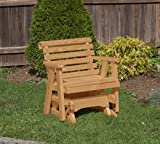 Amish Heavy Duty 600 Lb Roll Back Pressure Treated Porch Patio Garden Lawn Outdoor Glider Chair-2 Feet-Brown-Made in USA
