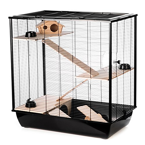 Little Friends Grosvenor ratten- en hamsterkooi met houten platform en ladder, Triple, zwart