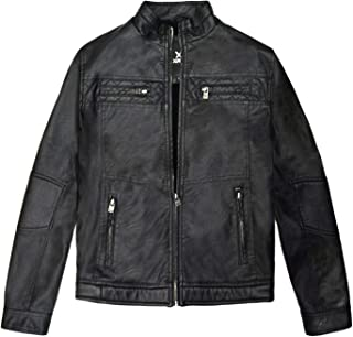 X RAY Boys Motorcycle Leather Jacket Stand Up Collar Sherpa Lined Casual PU Leather Jacket for Boys