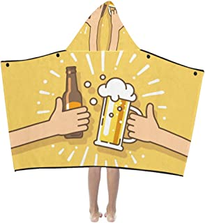 Beer Drink Agreed Deal Cheers Soft Warm Cotton Blended Kids Dress Up Hooded Wearable Blanket Bath Towels Throw Wrap for Toddlers Child Girls Boys Size Home Travel Picnic Sleep Gifts Beach