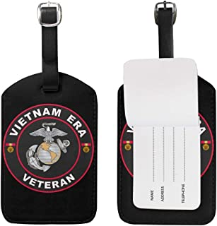 KATE HOLT U.S. Marine Corps Vietnam Era Veteran Luggage Bag Tags Leather Travel ID Labels Suitcase Name Tags