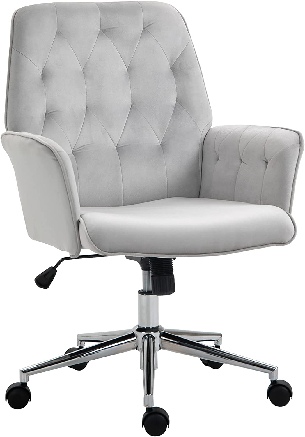 Vinsetto Modern Mid-Back Tufted Velvet Fabric Home Office Desk Chair with Arms, Swivel Adjustable Task Chair, Upholstery Accent Chair with Soft Seat, Metal Base - Light Grey