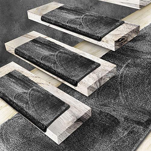 Floordirekt Velours-Stufenmatten Sundae | Halbrund oder Eckig | Treppenmatten in 6 Farben | Strapazierfähig & pflegeleicht | Stufenteppich für Innen (Anthrazit, Halbrund 65 x 23,5 cm)