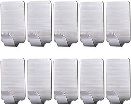 Ganchos autoadhesivos de acero inoxidable para colgar en la pared, para cocina, baño, armario de oficina, hogar, resistente al agua, no requiere pegamento para taladros (10 unidades)