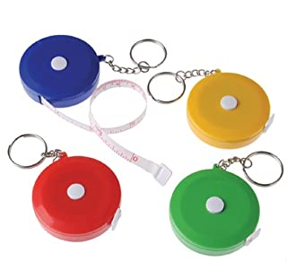 U.S. Toy Lot of 12 Assorted Color Mini Tape Measure Key Chains Key Rings