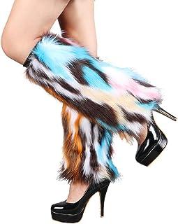 Popuid Tie Dye Women Furry Leg Warmers Faux Fur Boot Covers Fluffies Cuffs