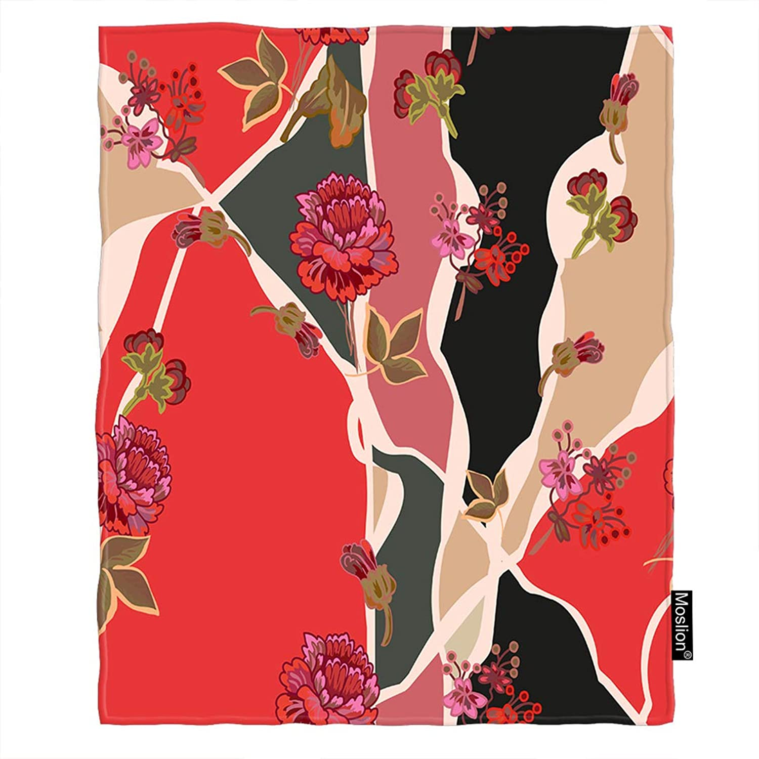 Moslion Floral Blanket Vintage Spring Ethnic Red Flowers Green Leaf on Tree Branch Throw Blanket Flannel Home Decorative Soft Cozy Blankets 60x80 Inch for Adults Kids Sofa