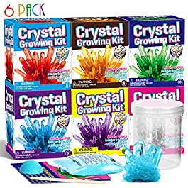 XX Crystal Growing Kit for Kids Grow 6 Color Crystals Grow Crystal Science Experiments Crystal Science Kits Grow Your Own Crystals STEM Projects for Boys & Girls Crystal Growing for Age 7-12