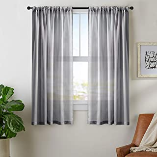 MRTREES Gray Short Sheer Curtains 45 inches Long Kitchen Curtains Sheer Small Window Voile Basement Curtains Charcoal Grey Rod Pocket Bathroom Window Treatment Set 2 Panels