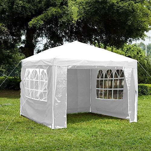 Giardino Vida Gazebo con pannelli laterali, con cerniera, tenda per feste all'aperto e giardino, baldacchino impermeabile con barra antivento, bianco, 3 x 3 m