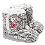 Winter-Baby-Säuglingsjungen-Mädchen Stricken Woolen warme Schnee-Stiefel-Schuhe (0-6 Months, Grau)