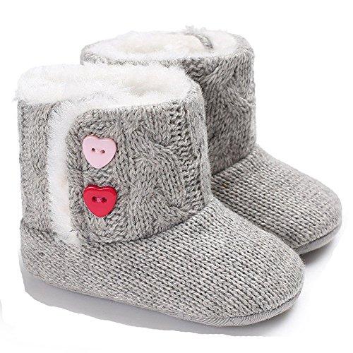 Winter-Baby-Säuglingsjungen-Mädchen Stricken Woolen warme Schnee-Stiefel-Schuhe (12-18 Months, Grau)