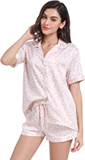 Serenedelicacy Women's Satin Pajama Set 2-Piece Sleepwear Loungewear Button Down Short Sleeve PJ Set