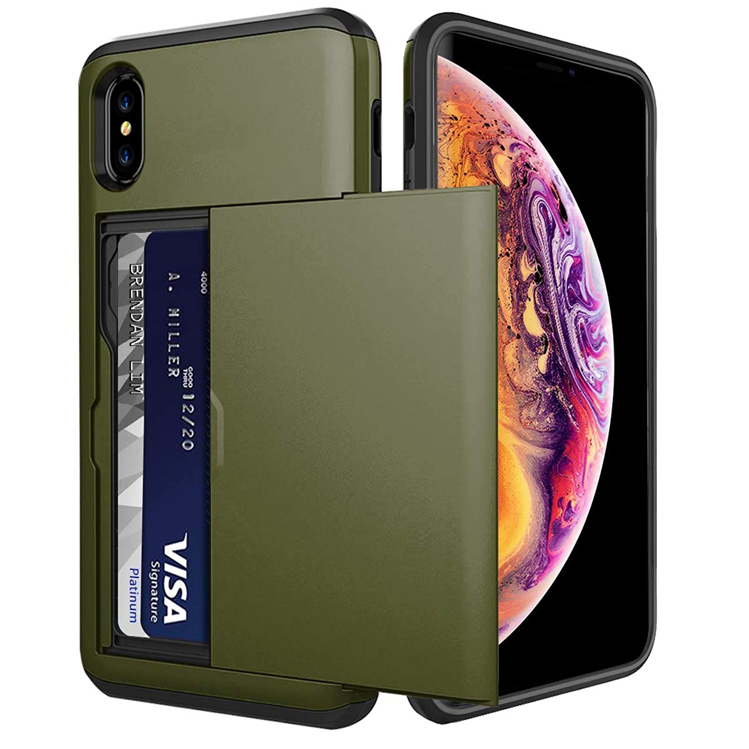 iPhone XS Max Card Holder Case Wallet Slot Dual Layer Protective Cover Shock Absorption