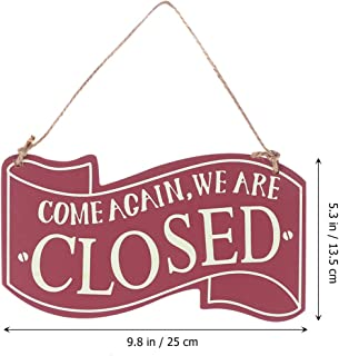 Wooden Open and Closed Two Sided Sign with Rope for Hanging Vintage Business Sign (Wine)