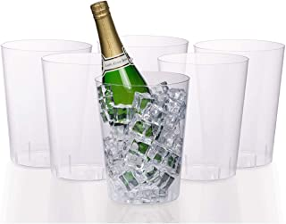 Exquisite 6 Pack Of 96 Ounce Disposable Clear Plastic Ice Bucket For Parties - Good As One Large Champagne Chiller Or Classic Wine Bottle Chiller