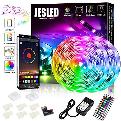 Bluetooth LED Strip Lights 10M, JESLED RGB Lichtleisten Musiksynchronisation, 5050 RGB Farbwechsel LED-Streifen mit Fernbedienung,flexible Schwarzlicht-RGB-LED-Lampen für Home Kitchen Party Dekoration