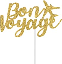 Gold Glitter Bon Voyage Cake Topper, For Going Away, Moving Away, Retirement, Travel Theme Party DecorationsParty