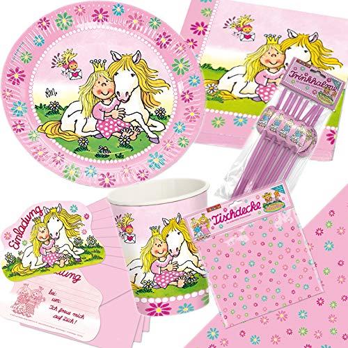 Lutz Mauder 105-tlg. * Prinzessin Miabella * Party-Set für Kindergeburtstag | Teller + Becher + Servietten + Tischdecke + Einladungen + Papier-Trinkhalme + Deko | Motto rosa pink Pony Pferd