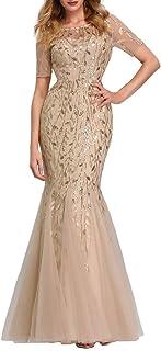 Ever-Pretty Vestito da Festa Donna Sirena Paillettes Tulle Abito da Sera Manica Corta Lungo 07707