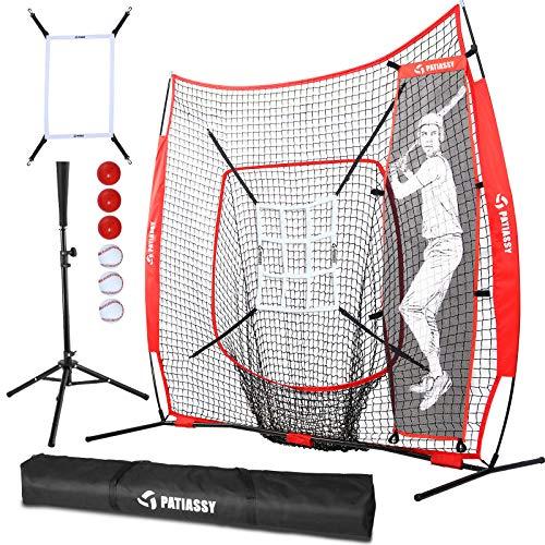 Patiassy 7' X 7' Baseball Softball Hitting Pitching Batting Practice Net with Batting Tee, 2 Strike Zones, 1 Batter, 3 Weighted Balls, 3 Baseballs and Carry Bag