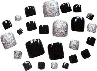 TBOP FAKE NAIL art reusable French long Artifical False Toenails 24 pcs set in Black color