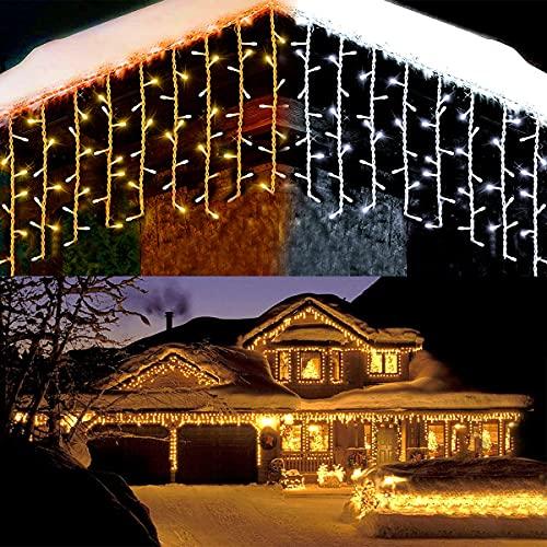 Lichterkette Eisregen außen, GreenClick 440 led Warmweiß Kaltesweiß Lichtervorhang, 9×0.8m led vorhang Strom, Lichterketten mit Fernbedienung wsserdicht für Balkon Weihnachten außen und Innen deko